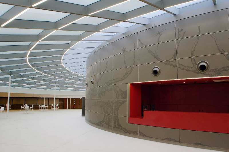 Perforated aluminium and Anomatch on  Wellcome Genome Campus