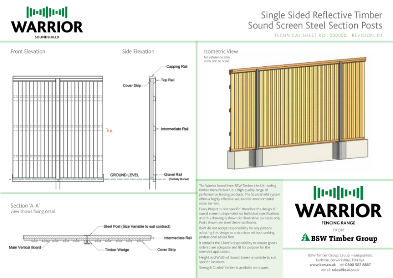 Warrior Technical Drawing - Single sided reflective sound screen