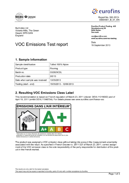 VOC Emissions Test report 100% tufted carpet tile