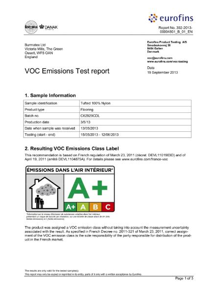 VOC Emissions Test report 100% tufted carpet tile