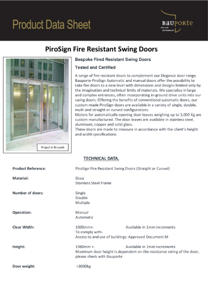 Bauporte PiroSign Fire Rated Swing Doors
