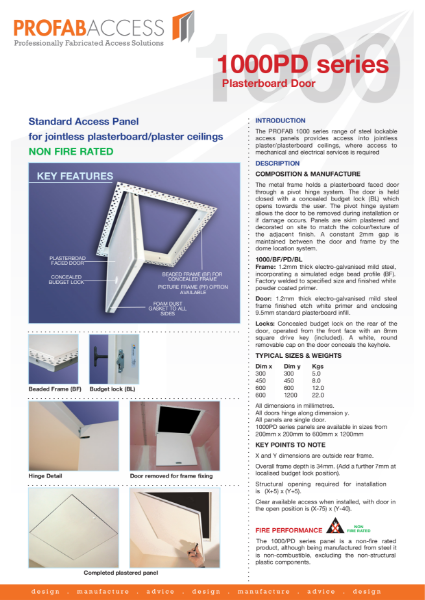 Profab PRIMA 1000 Series Wall Access Panel Non-Fire Rated with Plasterboard Door