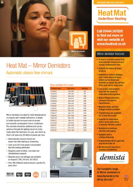 Heat Mat Mirror Demister Datasheet
