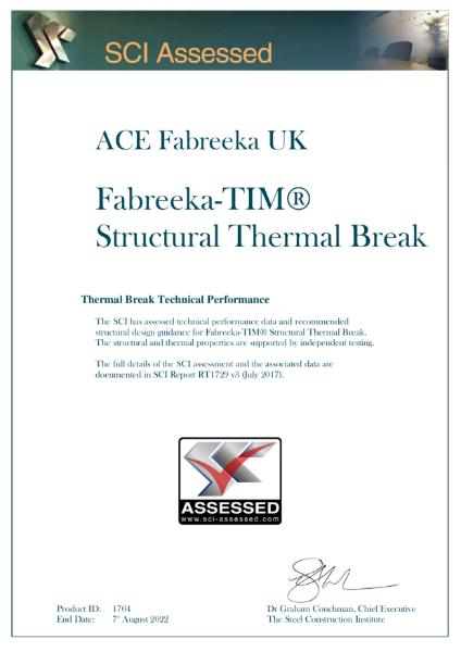 SCI Assessed Certificate - Fabreeka TIM