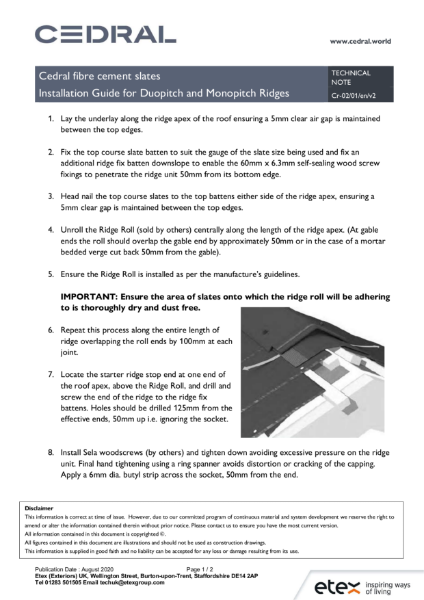 Cedral Roofs - Installation Guide for Duopitch and Monopitch Ridges