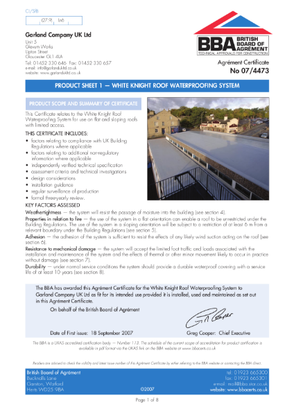 White Knight roof waterproofing system