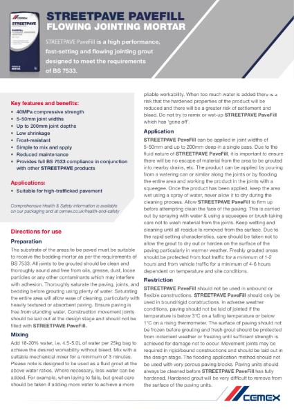 CEMEX Pavefill - Technical Datasheet