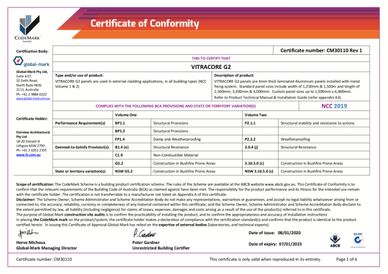 CodeMark Australia - Certificate of Conformity for Vitracore G2