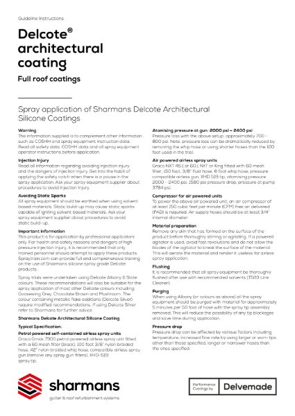 Delcote architectural coating spray application guidelines
