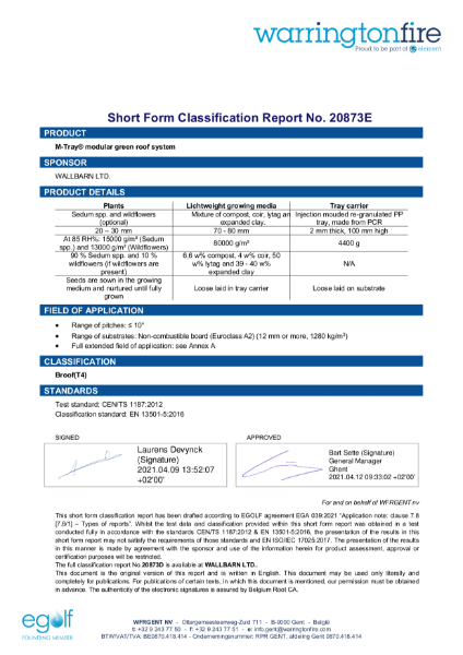 M-Tray B ROOF t4 Classification short form