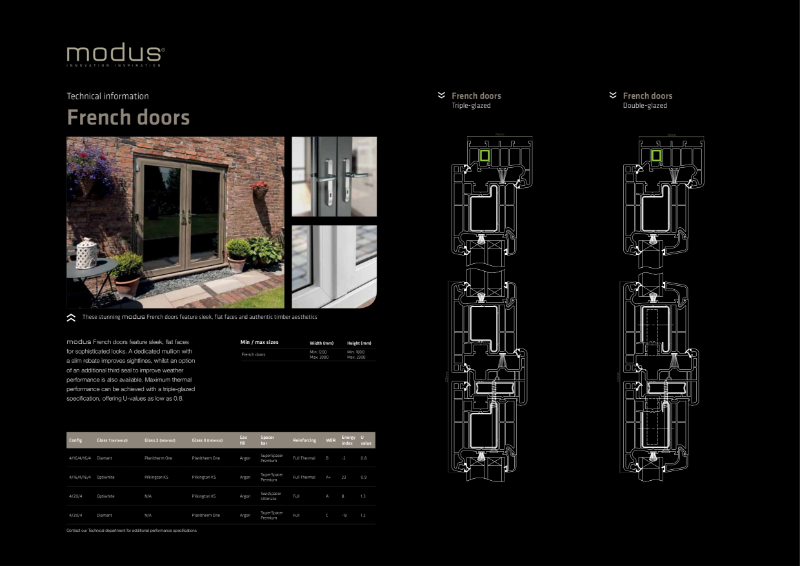 Modus French Doors Technical Information
