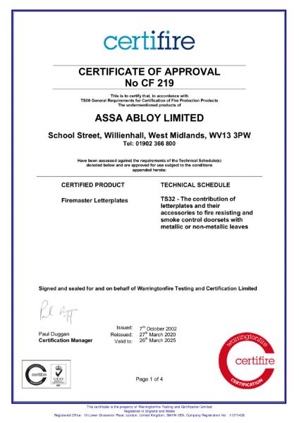 CF219 Certifire Certificate