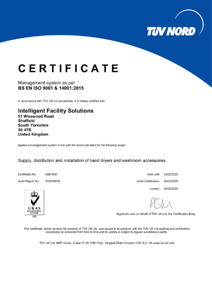 Intelligent Facility Solutions ISO9001 and ISO14001