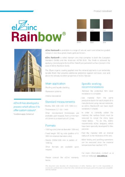 elZinc Rainbow Zinc Datasheet