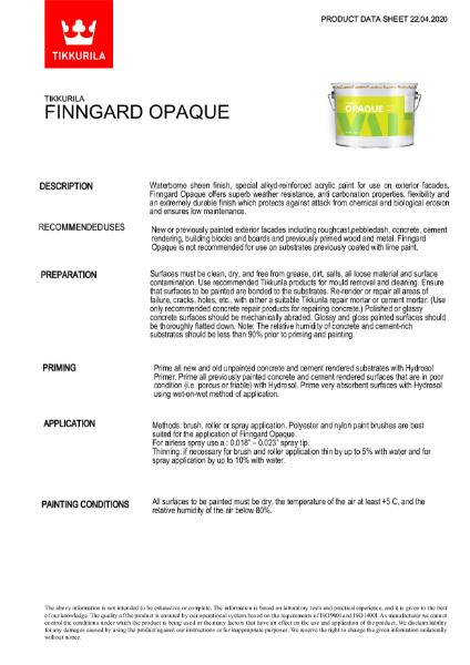 Finngard Oapque TDS