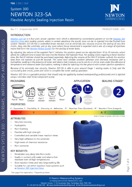 Newton 323-SA Injection Resin Data Sheet