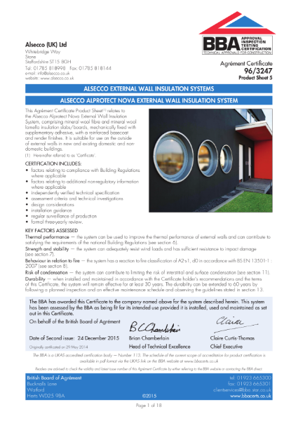 AG963238_5 ALSECCO ALPROTECT CARBON EXTERNAL WALL INSULATION SYSTEM