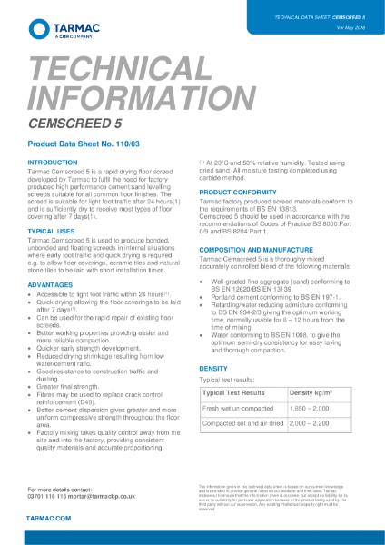 Cemscreed 5 Technical Data Sheet