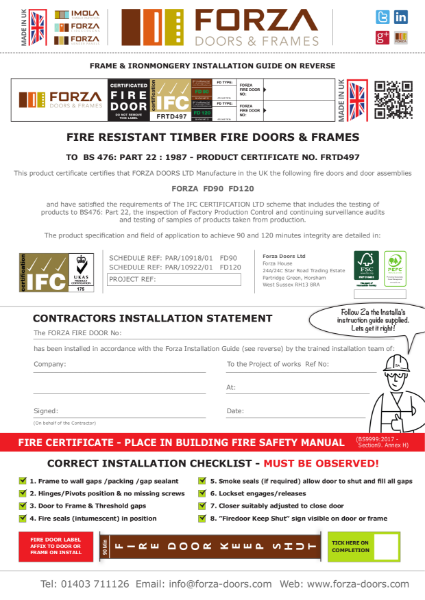 The Forza FD90/FD120 Fire Certificate