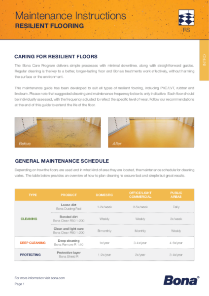Maintenance guide for all types of resilient flooring