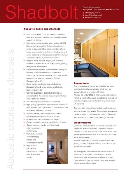 Acoustic doors and doorsets