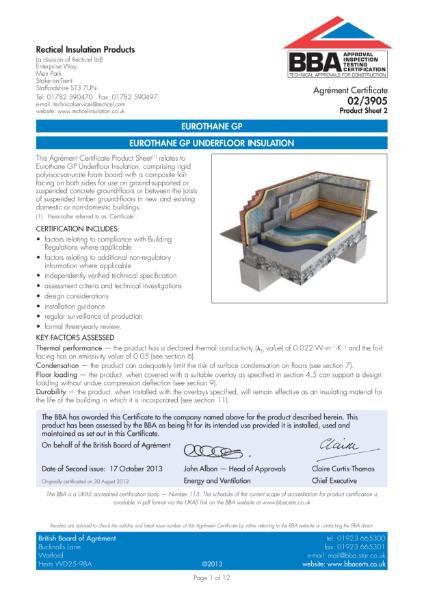 02/3905 Eurothane GP Underfloor Insulation