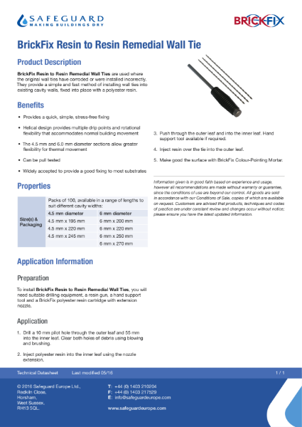 Brickfix Resin-to-Resin Remedial Wall Tie Data Sheet