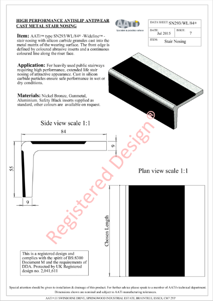 Stair Nosing Anti-slip type SN293/WL/84® Cast metal