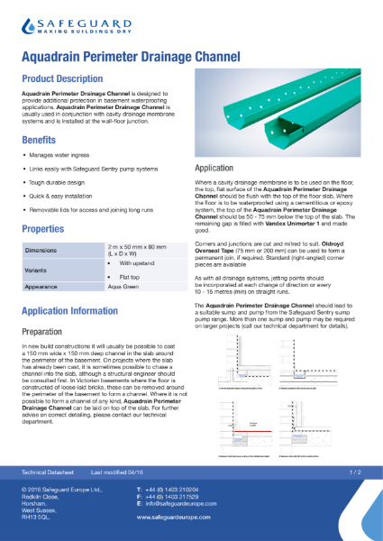 Aquadrain Perimeter Drainage Channel Data Sheet