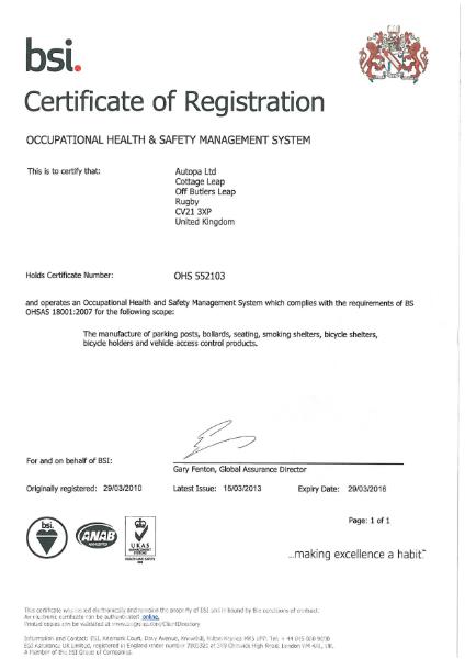 BSI Certificate of Registration OHS 552103