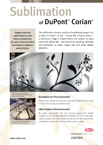 Sublimation of DuPont Corian