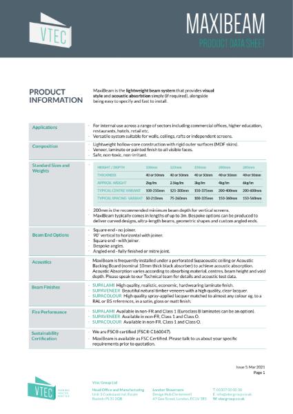 MaxiBeam - Data Sheet