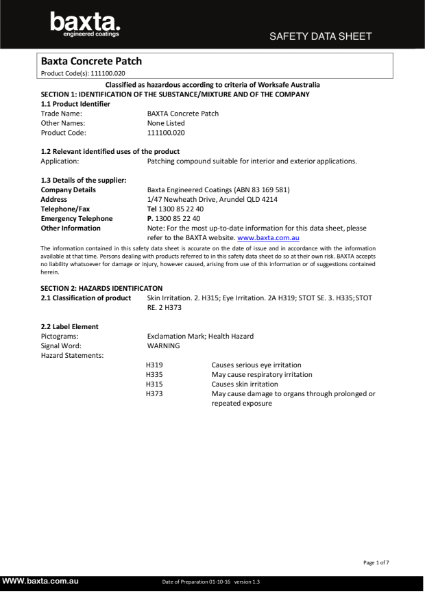 Baxta Concrete Patch Safety Data Sheet