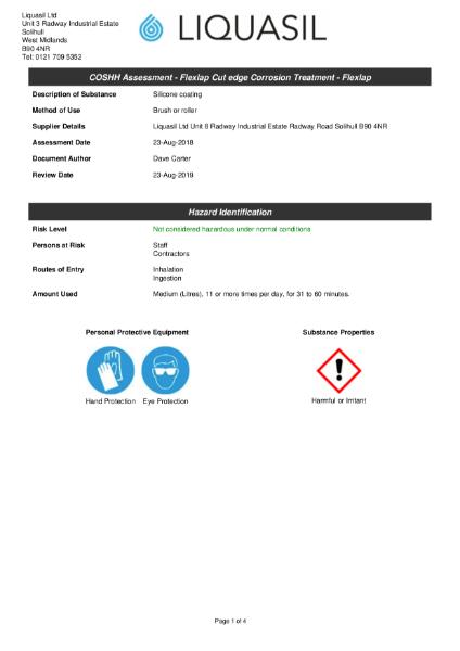 BBA Approved cut edge corrosion treatment, Flexlap, COSSH Assessment