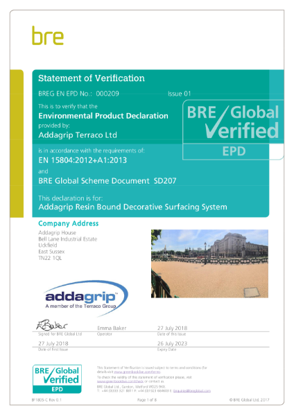 BRE Environmental Product Declaration Certificate
