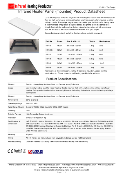 IHP Infrared Heating Panel (mounted) Datasheet