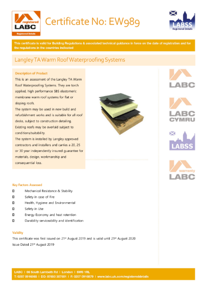 LABC Langley TA Warm Roof Waterproofing Systems Certificate