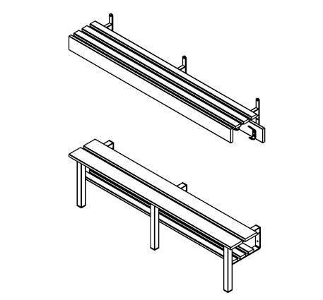 WA/S1 Series Wall Bench with Shelf