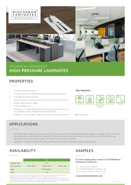 BioCarbon Laminates High Pressure Laminates (HPL) datasheet