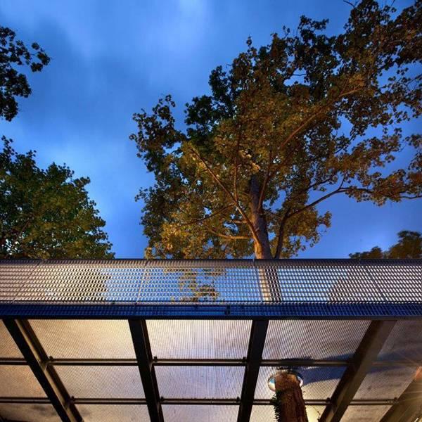 Open mesh steel balustrades, walkways, stairs at Bradfield College Greek Theatre: DemiAlto-55×110/50×5