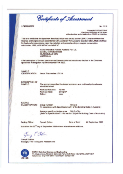 AS/NZS 3837 Certificate of Assessment for Lexan Thermoclear LTC 16
