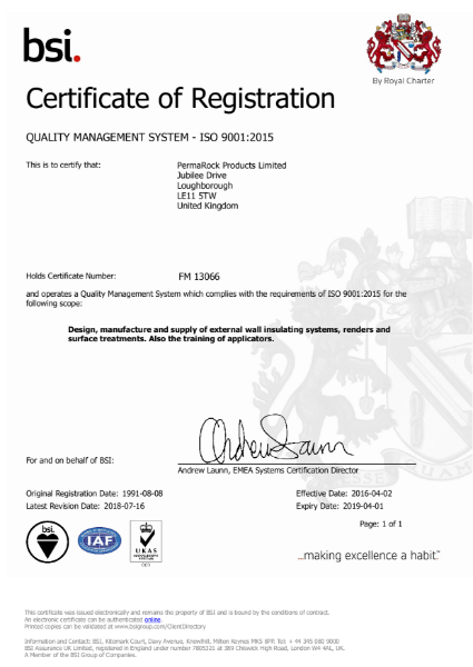 PermaRock BSI ISO 9001 Quality Management Certificate