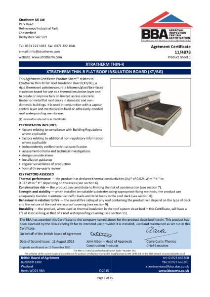 11/4878 Xtratherm Thin-R Flat Roof Insulation Board (XT/BG) (Product Sheet 1)