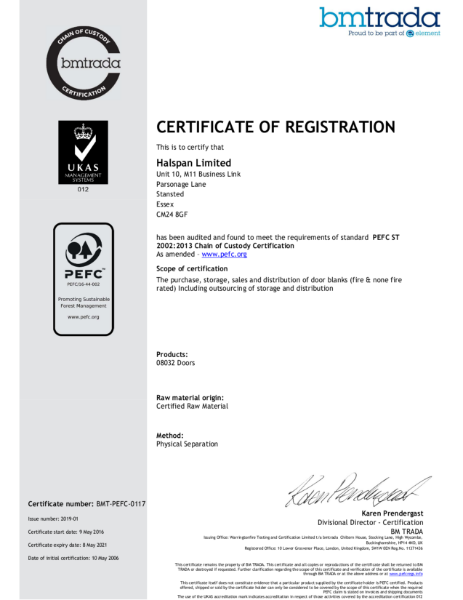 Halspan PEFC Chain of Custody Certificate