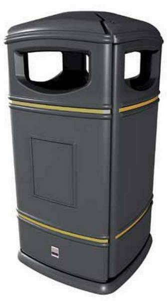 Heritage Square Hooded Litter Bin, with Galvanized Liner