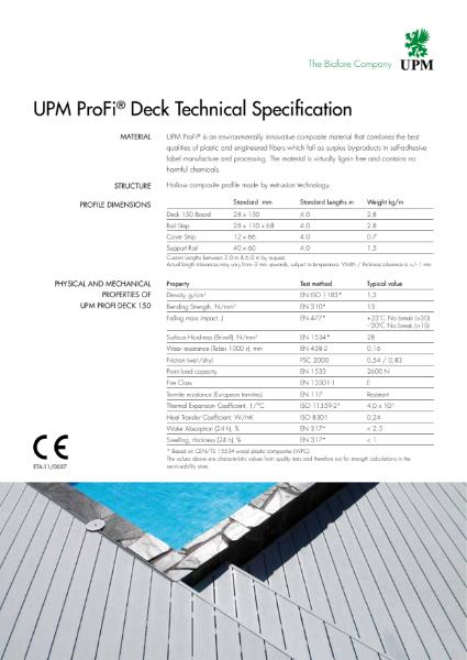 UPM ProFi Deck Technical Specification