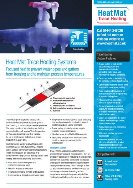 Heat Mat Trace Heating Datasheet