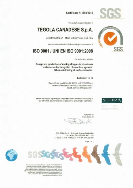 ISO 9001:2008 Certificate (Tegola)