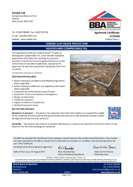Cordek Heaveguard BBA Certificate