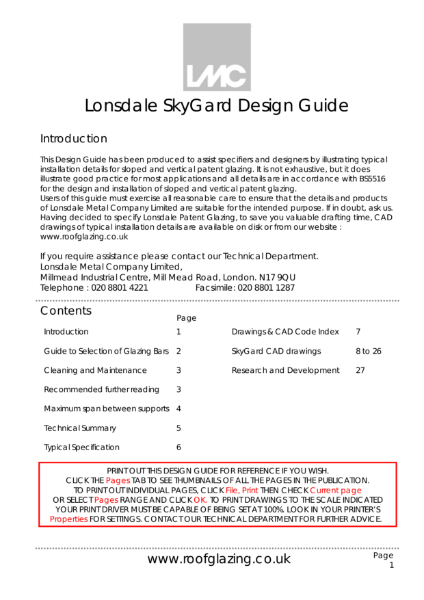 SkyGard Patent Glazing Bar Design Guide